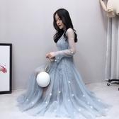 超仙裙洋氣溫柔女神範網紗連衣裙亮片仙女風長裙吊帶兩件組