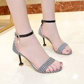 新款韓版百搭甜美花邊布面露趾涼鞋一字扣細跟高跟鞋中跟 韓慕精品