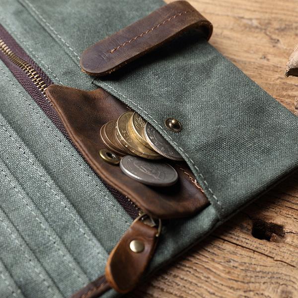 【Solomon 原創設計皮件】真皮帆布抽帶長夾  多功能錢包 帆布錢包  鈔票零錢卡片收納