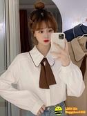 洋氣質女士襯衫小眾新款薄款法式別致白色襯衣長袖早秋上衣設計感【happybee】