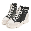 PLAYBOY 內增高 時尚真皮襪靴-黑(Y7270)