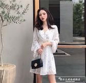 裙子女春秋裝韓版荷葉邊v領復古雪紡裙很仙的法國小眾連身裙『韓女王』