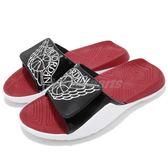 Nike 拖鞋 Jordan Hydro 7 BG 黑 紅 白 魔鬼氈 大LOGO 舒適鞋墊設計 喬登 女鞋 大童鞋【PUMP306】 AA2516-001