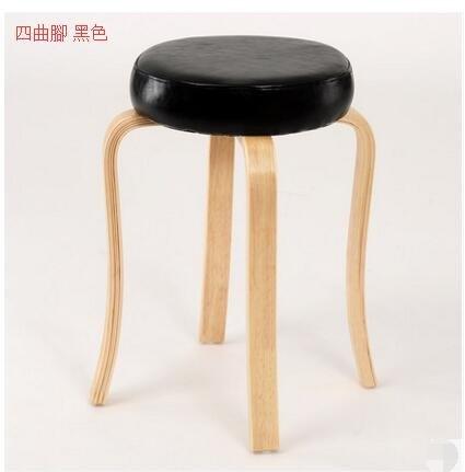創意家用高腳凳子多功能餐椅小板凳實木小椅客廳沙發凳圓凳(主圖款四曲腳 黑色)