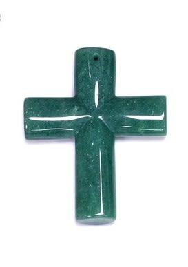 [協貿國際]天然東陵玉十字架吊墜飾品配件(3入價)