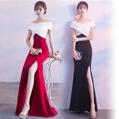洋裝小禮服顯瘦宴會洋裝-黑紅2色
