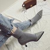 襪靴 2020新款中跟短靴尖頭細跟女靴