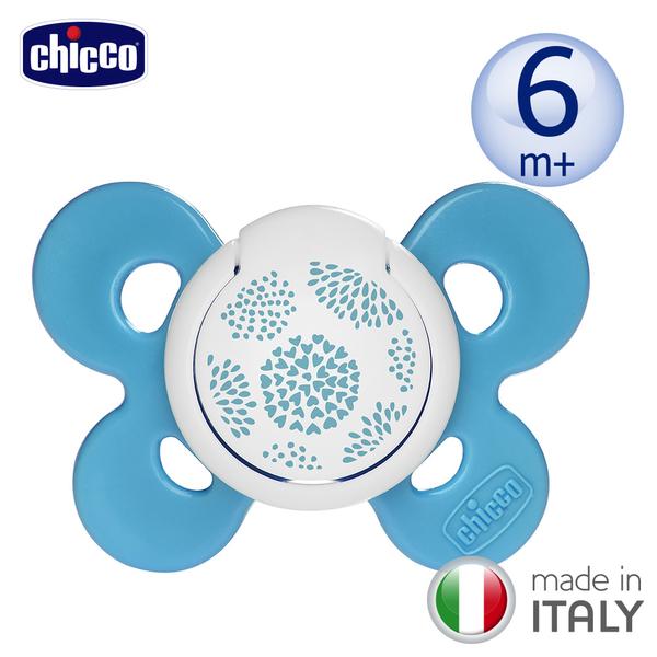 chicco-舒適哺乳-機能型矽膠安撫奶嘴1入-中/春漾藍