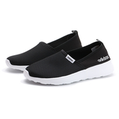 ADIDAS 休閒鞋 LITE RACER SLIP 黑白 輕量 懶人鞋 網布 女(布魯克林) F98974