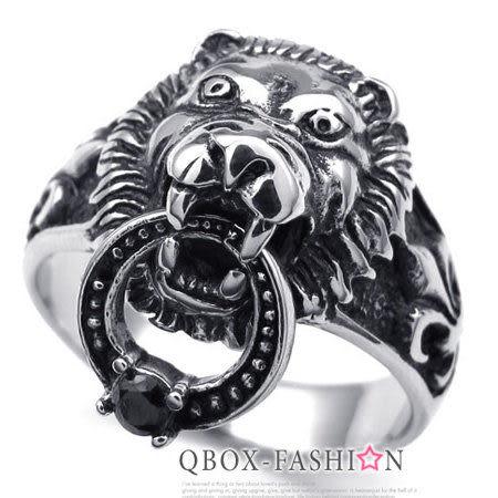 《 QBOX 》FASHION 飾品【R10022612】精緻個性風虎頭銜環鑄造鈦鋼戒指/戒環