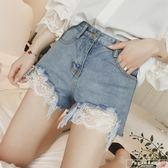 夏季女裝個性蕾絲拼接毛邊牛仔短褲子打底闊腿褲百搭時尚高腰熱褲『韓女王』