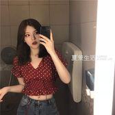 短袖襯衫 夏季復古紅色波點短款系帶上衣女韓國chic新款漏肚臍短袖襯衣·夏茉生活