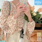 【V3428】shiny藍格子-輕盈恬氛.復古碎花寬鬆長袖襯衫