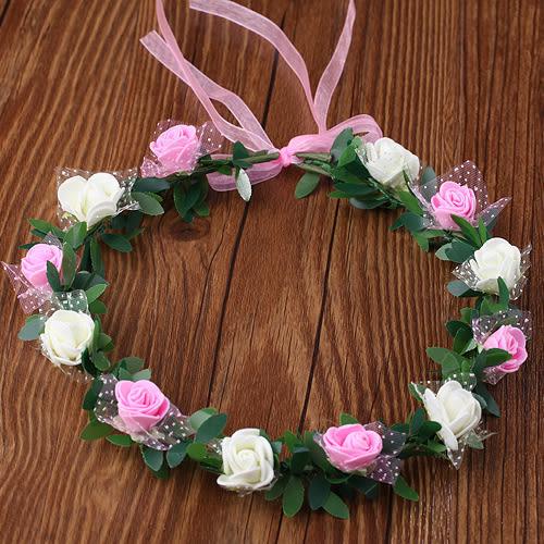 森女新娘婚紗寫真拍照攝影頭飾玫瑰花環發箍發帶海邊沙灘發飾(豪版雪紗)─預購CH1680
