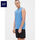 GapFit男裝 透氣無袖圓領運動T恤 396049-湖藍色