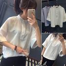 (全館一件免運)DE SHOP~小清新立領白襯衫短袖上衣(TT-2635)