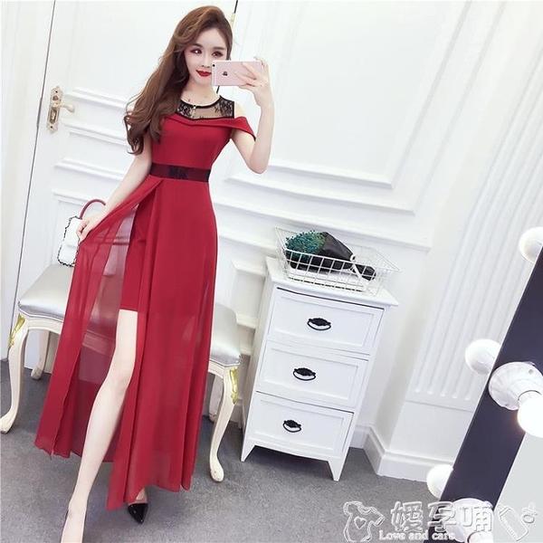禮服2021年新款夏天裙子蕾絲雪紡開叉包臀長裙氣質連身裙禮服燕尾裙仙 嬡孕哺