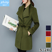 【V9637】shiny藍格子-冬緻風格.修身顯瘦中長款毛呢大衣外套