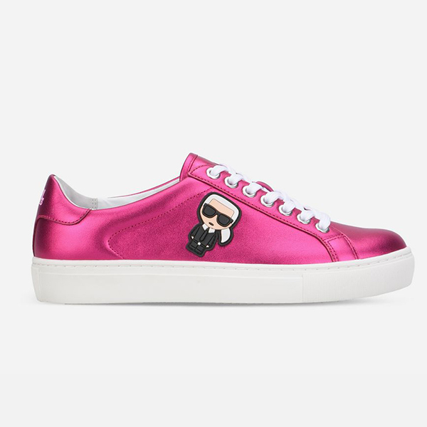Karl Lagerfeld 卡爾 老佛爺 女鞋 KUPSOLE Q版綁帶休閒鞋-金屬桃紅