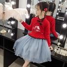 女童毛衣連身裙套裝新款秋冬裝中國風漢服水貂毛紗裙古裝兩件套潮 EY9892『黑色妹妹』
