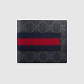 【雪曼國際精品】GUCCI 408827-KHN4N-1095 GG印花藍紅藍織帶折疊灰色8卡短夾─全新品現貨