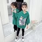 日韓歐美(•‿•)韓版女童秋冬帽T 加厚長版T恤 女童百搭 可愛動物長袖上衣