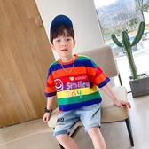 小貝潮品男童短袖T恤2021新款夏裝兒童中大童洋氣拼接韓版上衣夏 幸福第一站