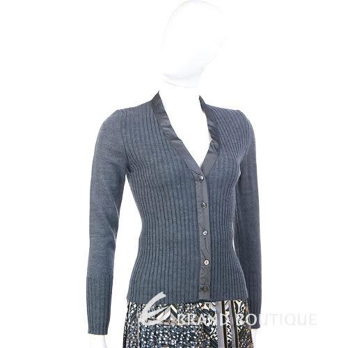 Lorella Braglia 羅紋釦式針織外套+圖騰拼接百褶及膝裙(灰色) 0840012-06