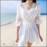 現貨+快速★蕾絲娃娃衫度假沙灘V領收腰連身裙 短袖洋裝★ifairies【56571】