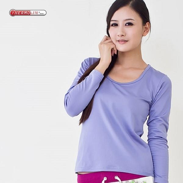 杜邦專利中空紗 發熱衣 保暖衣 輕量 升溫 運動保暖 吸濕排汗 女款U領 紫色
