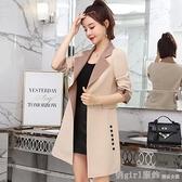 風衣 風衣女中長款韓版2020秋裝新款港味復古氣質外套西裝女小個子大衣 開春特惠