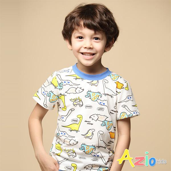 Azio 男童 上衣 滿版彩色恐龍印花短袖上衣 (白) Azio Kids 美國派 童裝