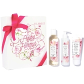LilaRoze 玫瑰清潔保養精華組-卸妝水250ml、護手霜75ml、身體乳200ml