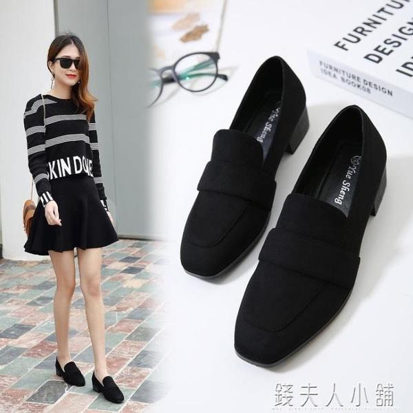 單鞋女春款秋季新款黑色職業工作鞋中跟粗跟低跟仙女秋款秋鞋錢夫人小鋪