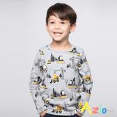 Azio Kids男童上衣 滿版工程車長袖T恤(灰) Azio Kids 美國派 童裝
