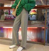 闊腿褲 秋季女裝韓版寬鬆百搭抽繩休閒褲高腰顯瘦闊腿褲運動褲直筒褲長褲    瑪奇哈朵