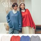 Queen Shop【01096460】V領寬鬆刷毛上衣 四色售*現+預*