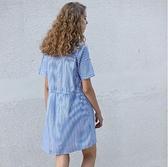 性感洋裝 小性感領口交叉綁帶抽繩收腰海魂藍豎條紋棉質襯衫洋裝