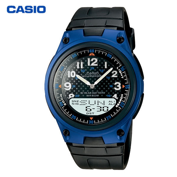 CASIO 多功能數位指針雙顯電子錶x藍・AW-80-2B・學生錶・當兵軍用錶・公司貨|名人鐘錶高雄門市