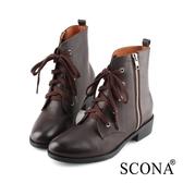 SCONA 蘇格南 全真皮 率性拉鍊綁帶短靴 咖啡色 8785-2