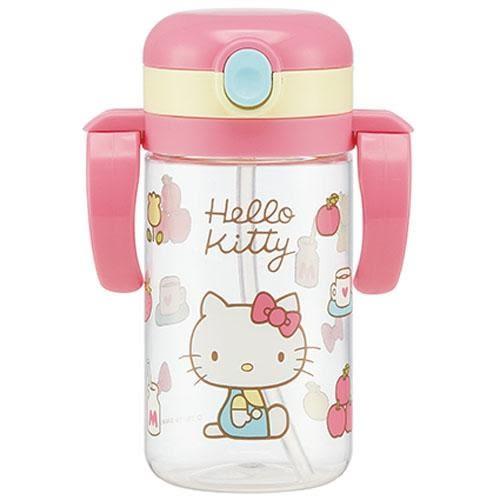 日本 SKATER 兒童吸管學習水杯370ml(折疊式把手)Hello Kitty