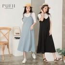 PUFII-洋裝 細肩帶背心棉麻素面吊帶裙- 0511 現+預 夏【CP20217】