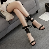 粗跟涼鞋 2020新款韓版一字扣帶中跟綁帶女涼鞋夏季粗跟高跟