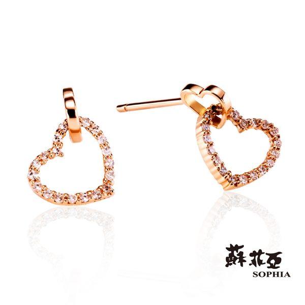 蘇菲亞SOPHIA - 心心相印 0.15克拉鑽石玫瑰金耳環