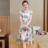新品中長版大尺碼女裝遮肚子顯瘦減齡新款碎花雪紡洋裝女(M-4XL)1色