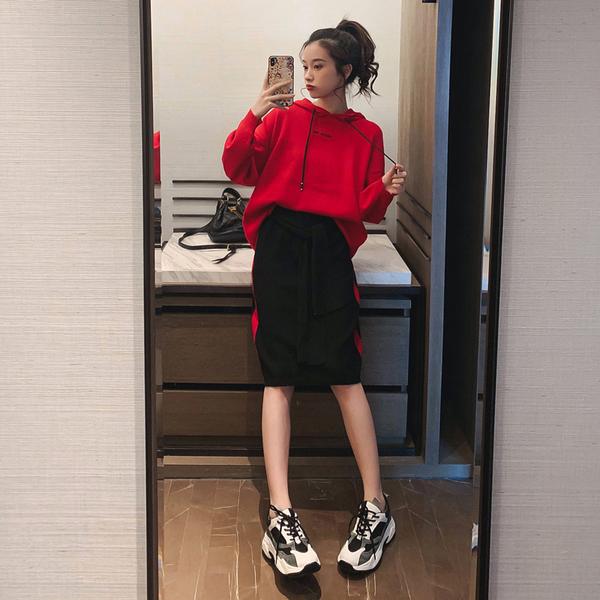 絕版出清 韓系針織寬鬆連帽配拼色半身裙套裝長袖裙裝
