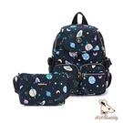 B.S.D.S冰山袋鼠 - 楓糖瑪芝 - 經典大容量插袋後背包+側背小包2件組 - 星球黑【0015+001KK】