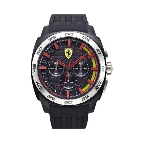 FERRARI Aerodinamico 狂速賽車大鏡面計時三眼時尚腕錶/46mm/0830202