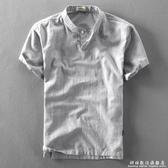 夏季新款男士休閒亞麻短袖襯衫套頭立領棉麻布襯衣中國風薄款上衣 聖誕節免運