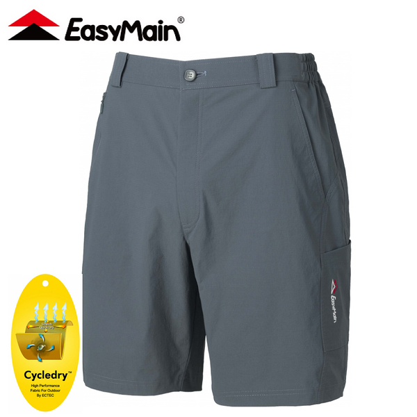 【EasyMain 衣力美 男 彈性快乾細格五分褲《灰藍》】RE20049/短褲/休閒短褲